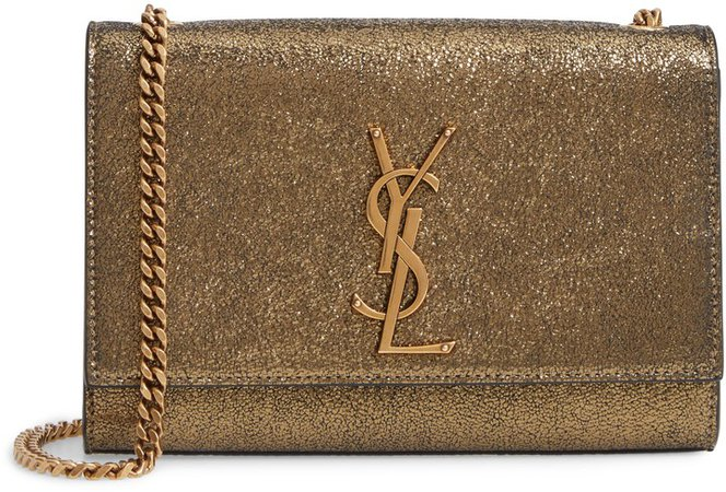 Small Kate Metallic Leather Crossbody Bag