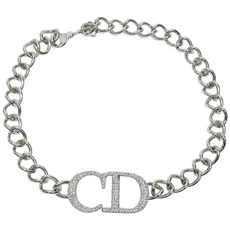 Christian Dior Silver Toned Diamante CD Monogram Necklace For Sale at 1stdibs