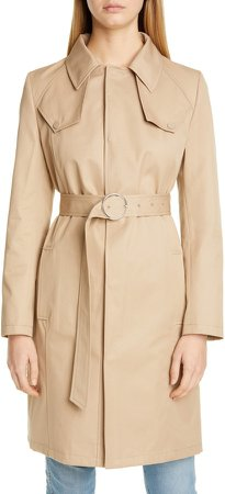 Cotton Canvas Belted Trench Coat