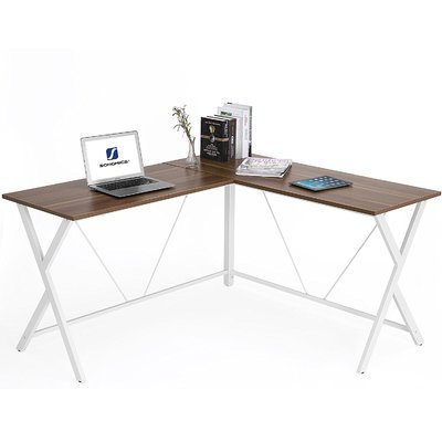 Rebrilliant SONGMICS Corner Computer Desk L-Shape for PC, Laptop, Study Gaming Desk Workstation,  Modern Simple Style, Durable Vibration Free, Eco-Friendly, Black & Walnut Colour Fits Any Décor & Reviews | Wayfair.ca