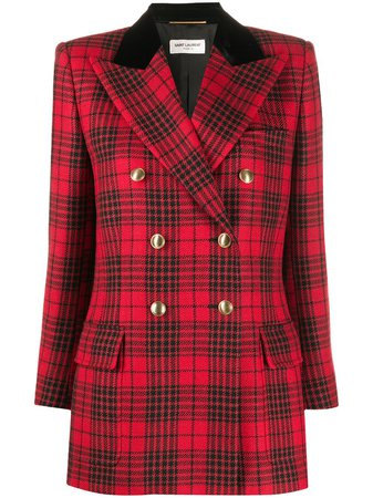 Saint Laurent check-pattern double-breasted Blazer - Farfetch