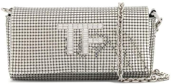 Crystal-Logo Chainmail Shoulder Bag