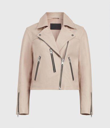 ALLSAINTS US: Womens Kassia Leather Biker Jacket (peony_pink)