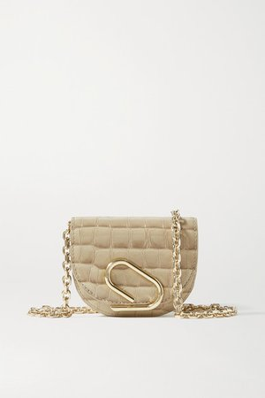 Alix Mini Croc-effect Patent-leather Shoulder Bag - Beige
