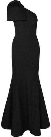 Francesca One-shoulder Bow-detailed Cloqué Gown - Black