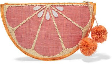 Pomelo Woven Straw Pouch - Pink