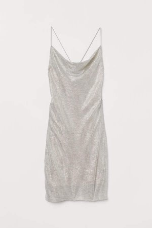 Shimmery Metallic Dress - Brown