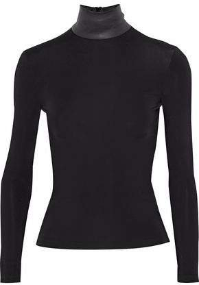 Leather-trimmed Stretch-jersey Turtleneck Top