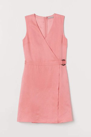 Lyocell-blend Wrapover Dress - Pink