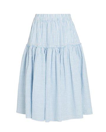 LoveShackFancy Stefana Striped Cotton Midi Skirt | INTERMIX®
