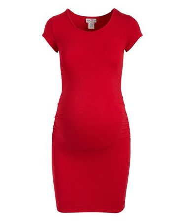 Times 2 Red Ruched Maternity T-Shirt Dress | Zulily