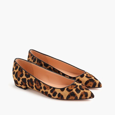 J.Crew: Pointed-toe Flats In Leopard Calf Hair