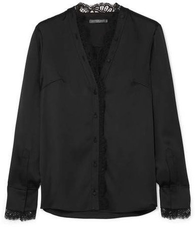 Lace-trimmed Silk-satin Blouse - Black