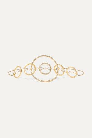 Gold Virtuose 18-karat gold, sapphire, pearl and diamond choker | Anissa Kermiche | NET-A-PORTER