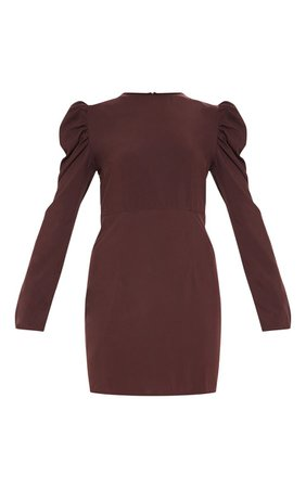 Chocolate Brown Puff Sleeve Bodycon Dress | PrettyLittleThing USA