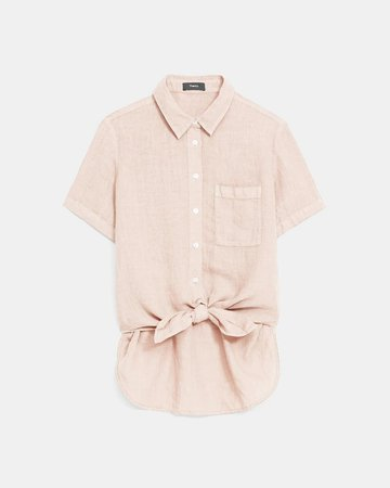 Spring Linen Hekanina Tie Front Shirt   Theory