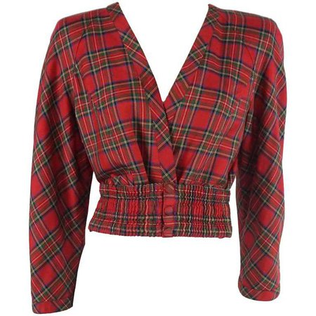 Valentino Red Plaid Lightweight Wool Crop Jacket and matching belt - 4- 80's For Sale at 1stdibs