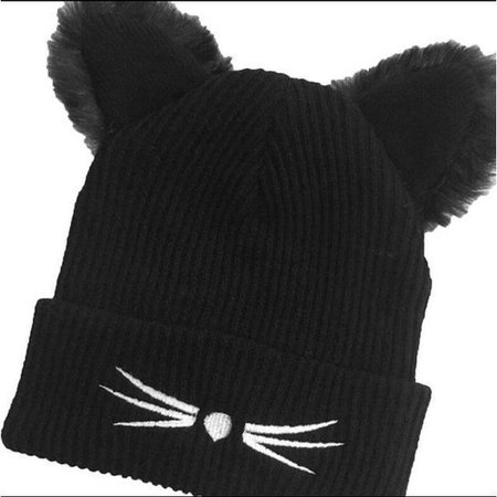 Fluffy Knitted Cat Ear Beanie