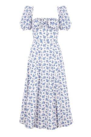 Clothing : Midi Dresses : 'Tallulah' Blue White Floral Midi Dress