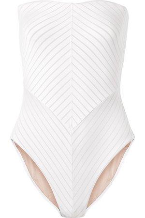 Skin | Paola cutout striped bandeau swimsuit | NET-A-PORTER.COM