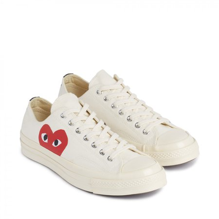comme des garcons white low top converse