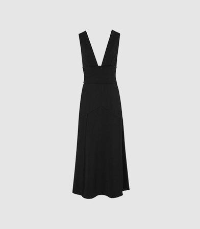 Adele Black Plunge Neckline Midi Dress – REISS
