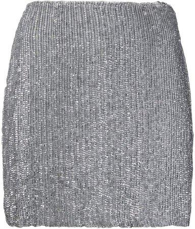 metallic sequin mini skirt