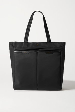 Nevis Leather-trimmed Shell Tote - Black