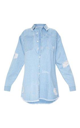 Light Blue Wash Distressed Denim Shirt Dress | PrettyLittleThing