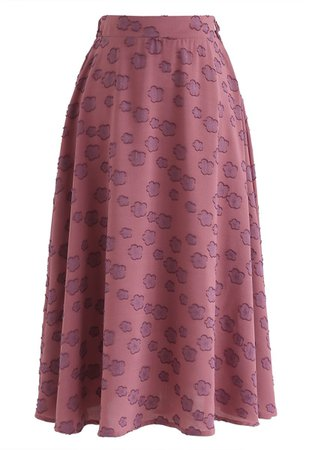 Chic Wish Falling Florets Tasseled A-Line Midi Skirt in Berry - Retro, Indie and Unique Fashion
