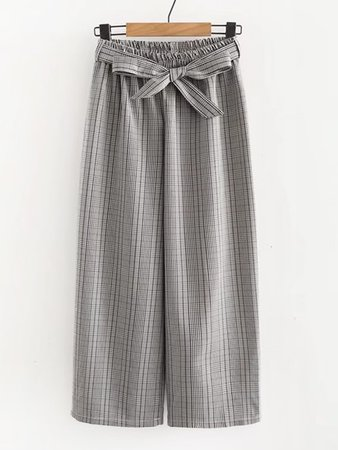 Glen Plaid Belted Wide Leg Pants