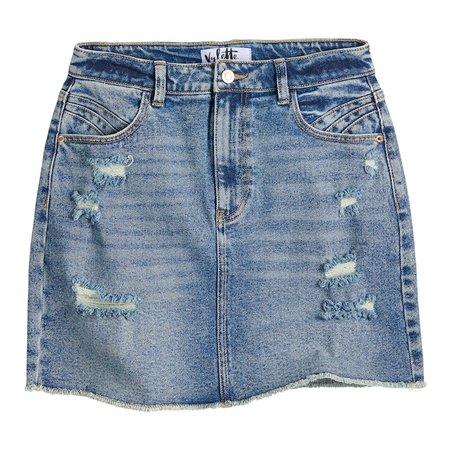 Juniors' Vylette™ High-Waist Distressed Jean Skirt
