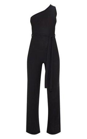 Black One Shoulder Tie Waist Jumpsuit | PrettyLittleThing