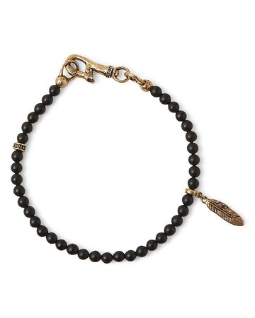 John Varvatos Collection Brass Mercer Onyx Beaded Feather Charm Bracelet   Bloomingdale's