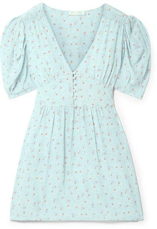 Ruby Floral-print Silk Crepe De Chine Mini Dress - Sky blue