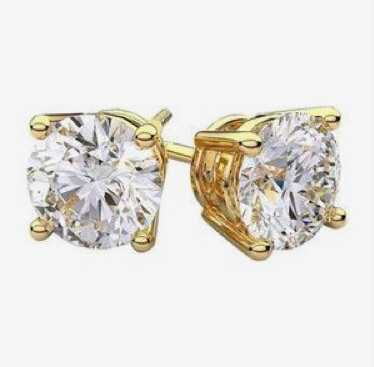 Solitaire Gold and Diamond Earrings