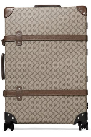 Gucci | + Globe-Trotter large leather-trimmed printed coated-canvas suitcase | NET-A-PORTER.COM