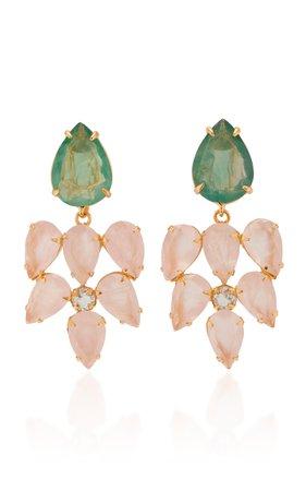 14K Gold-Plated, Rose Quartz, and Flourite Earrings by Bounkit | Moda Operandi