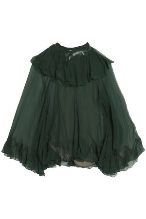 Forest green Ruffled silk-georgette blouse   Sale up to 70% off   THE OUTNET   CHLOÉ   THE OUTNET