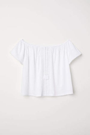 H&M+ Off-the-shoulder Blouse - White