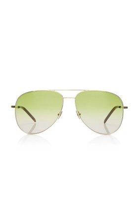 Classic Aviator-Frame Metal Sunglasses By Saint Laurent | Moda Operandi