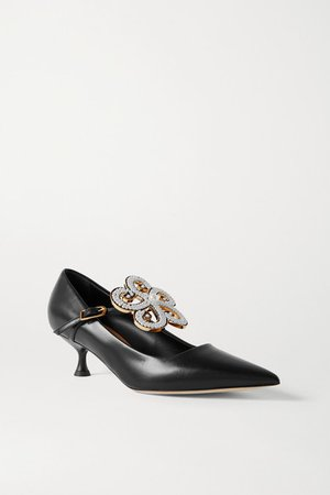 Faux Pearl-embellished Leather Pumps - Black