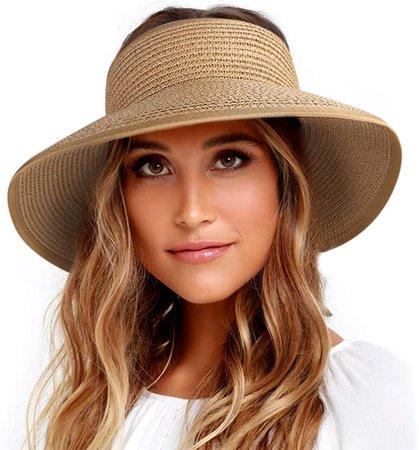 FURTALK Sun Visor Hats for Women Wide Brim Straw Roll Up Ponytail Summer Beach Hat UV UPF Packable Foldable Travel at Amazon Women's Clothing store