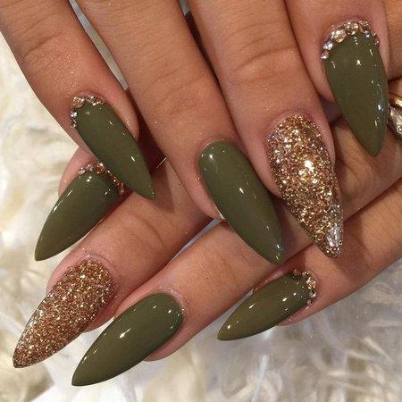 Olive Green Acrylic Nails