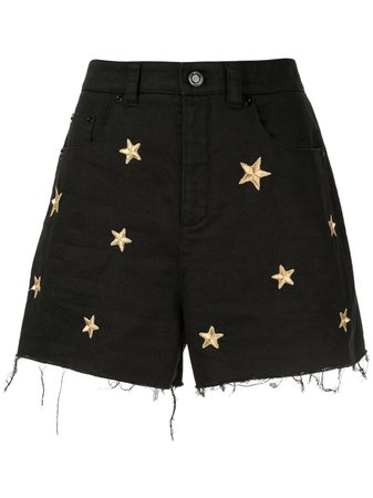 Saint Laurent Star Embroidered Denim Shorts - Farfetch
