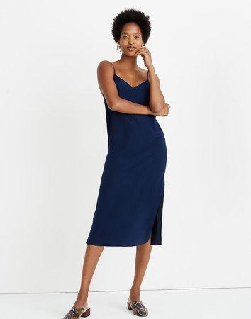 Silk Eva Side-Slit Slip Dress