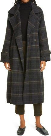 Modern Plaid Wool Blend Trench Coat