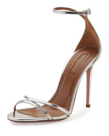 Aquazzura Purist Metallic Specchio Sandals, Silver