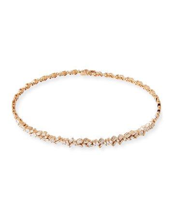 Suzanne Kalan 18K Rose Gold Diamond Baguette Choker Necklace, 2.25 tdcw | Neiman Marcus