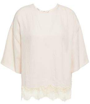 Lace-trimmed Twill Top